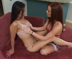 Asian and white Nyomi and Brandi in